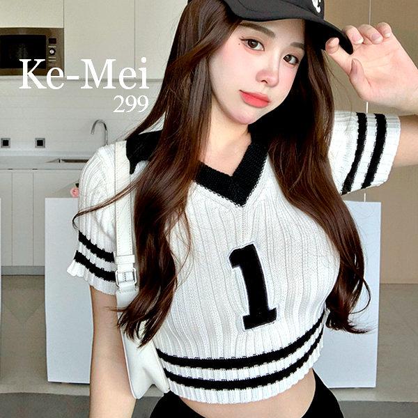 克妹Ke-Mei【ZT69411】SPICY辣妹御用數字V領撞色顯胸上衣