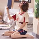 家居服 睡衣女夏季春秋薄款小貓純棉短袖兩件套裝可愛大尺碼學生韓版家居服