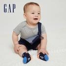 Gap嬰兒 純棉舒適搭肩圓領包屁衣 736682-淺麻灰