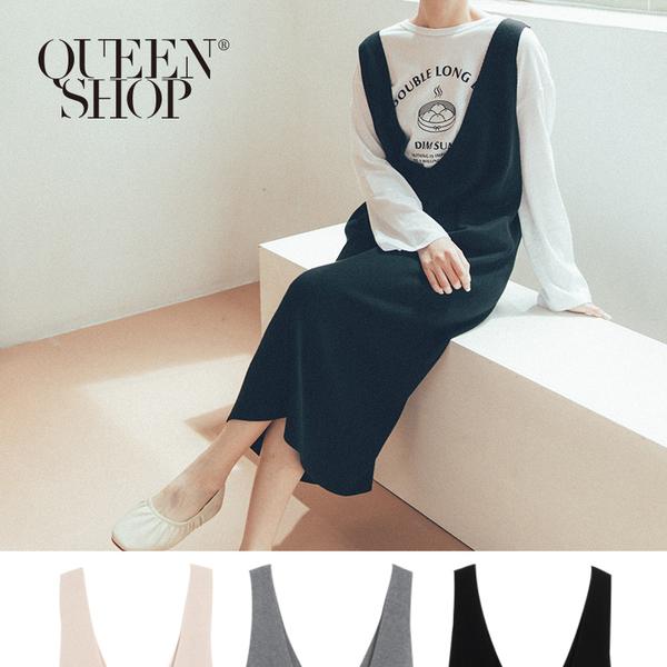 Queen Shop【01084743】前後V領背心長洋裝 三色售*現+預*