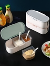 調味罐套裝 廚房調味盒調料罐塑料鹽罐收納盒組合套裝佐料盒調料盒帶蓋【快速出貨八折下殺】