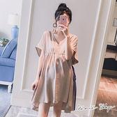 孕婦裝 MIMI別走【P51738】時尚范兒 簡約V領涼感綁帶連衣裙 寬袖造型上衣