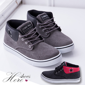 [Here Shoes]男鞋- 雅痞休閒牛仔帆布  經典男款潮流滑板鞋 舒適繫帶帆布鞋◆MIT台灣製─AJ18056
