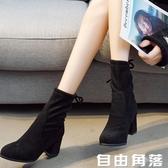 短筒女靴2020秋冬靴子單里加絨兩款馬丁靴圓頭絨面高跟粗跟後繫帶  自由角落