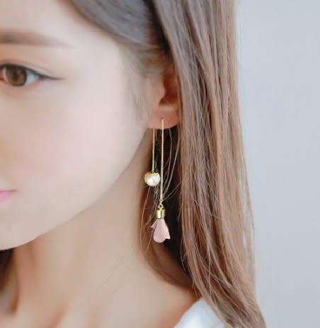 [氣質婉約] 耳環 韓版 新款 耳墜 長款 吊墜 簡約 流蘇 珍珠 花朵 耳釘 優雅 女款 耳線 復古 流行