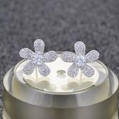 耳環 925純銀 鑲鑽-氣質花朵生日情人節禮物女飾品2色73hz103[時尚巴黎]