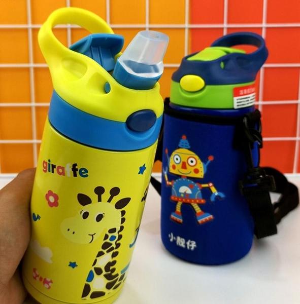 兒童保溫杯兒童保溫杯帶吸管杯幼兒園便攜防摔戶外水壺小學生大容量喝水杯子 伊蘿鞋包