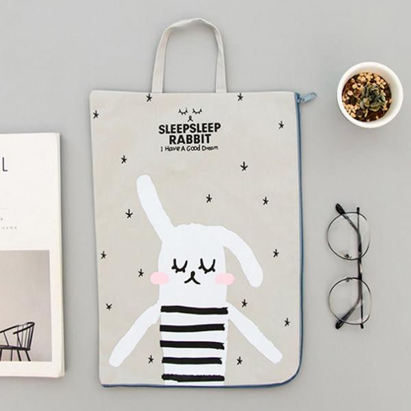 【BlueCat】愛補眠瞇眼兔帆布A4收納袋