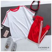 Catworld 玩色潮流。短袖加長褲運動套裝兩件組【16600385】‧S-XL