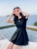 連身泳衣泳衣女遮肚顯瘦2020新款網紅款連身保守沙灘裙大碼學生韓國ins風 JUST M