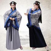 新款古裝青花瓷漢服女裝中大尺碼寫真服飾曲裾改良襦裙仙女裝公司年會表演 js5667『miss洛羽』