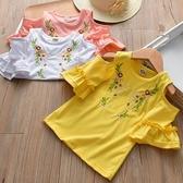 女童上衣  女童夏款喇叭袖子刺繡花朵上衣