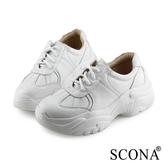SCONA 蘇格南 全真皮 休閒復古舒適老爹鞋 白色 7299-2