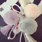 韓國創意新品流蘇男女汽車鑰匙扣毛絨獺兔毛球包包掛飾背包掛件 晴天时尚馆