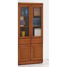 【森可家居】艾德樟木色中抽書櫃 8SB252-3 玻璃書櫥 木紋質感 日式無印風