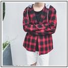 找到自己 MD 時尚 男 韓國 休閒 寬鬆 格子 連帽襯衣外套 格子襯衫 長袖襯衫 格紋襯衫
