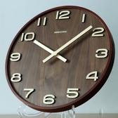 掛鐘 極客庫新中式掛鐘客廳靜音鐘中國風木質時鐘簡約家用鐘錶復古掛錶 ATF 極有家