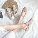 包頭涼鞋女仙女風中跟學生韓版百搭方頭粗跟單鞋 【現貨快出】