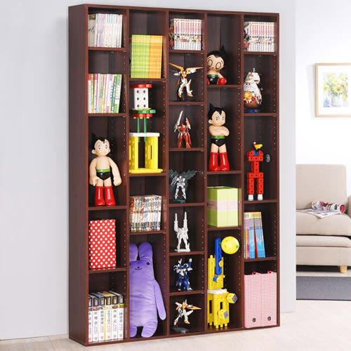 《Hopma》胡桃木色五排書櫃/收納櫃