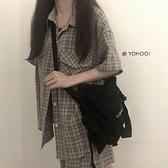 YOHOO!/原創包包斜挎包女百搭ins黑色帆布學生書包上課背包日系男 【Ifashion·全店免運】