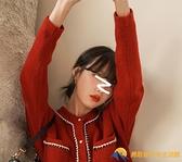 紅色毛衣寬松法式小香風開衫外套女裝針織上衣新款洋氣【勇敢者】