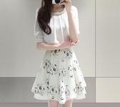 雪紡連身裙假兩件套裝女時尚顯瘦小清新裙子