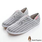 Hush Puppies 無印風網條咖啡紗懶人帆布鞋-灰色