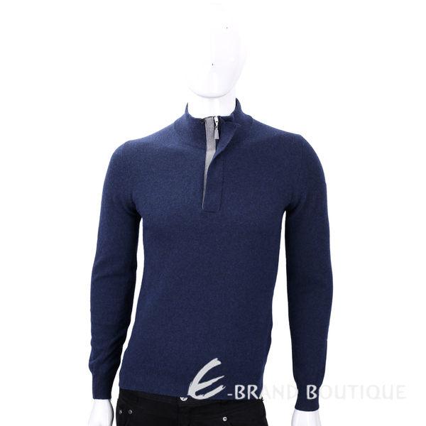 FRADI 深藍色半拉鍊設計羊毛長袖上衣 1540394-34