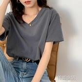 純棉V領短袖T恤女內搭2021年春夏季新款寬鬆韓版打底白色半袖上衣