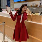 VK精品服飾 韓國風收腰小香風甜美顯瘦氣質針織長袖洋裝
