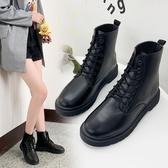 快速出貨 短靴 馬丁靴女英倫風學生韓版百搭短靴 春秋小皮靴機車透氣