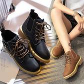 短靴 馬丁靴女英倫風繫帶新款學生平底chic韓版帆布百搭短靴子 『夢娜麗莎精品館』