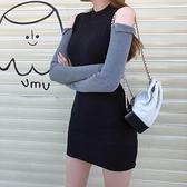 韓版露肩長袖性感短裙打底針織裙子緊身洋裝女秋冬新款 - 風尚3C