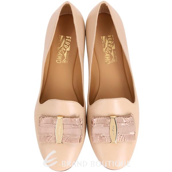 Salvatore Ferragamo Elisabella 膚色蝴蝶結牛皮樂褔鞋 1720251-32