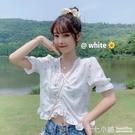 法式上衣~ 小碎花抽繩白色襯衫女夏季2020年新款法式V領設計感小眾短款上衣