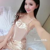 性感吊帶睡裙子女士夏季薄款冰絲綢火辣誘惑大碼情趣露背短騷睡衣 Korea時尚記