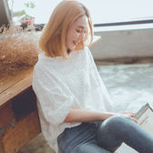 MUMU【T85642】優雅微性感花卉蕾絲簍空上衣