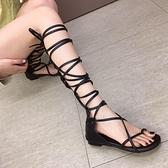 高筒高幫涼鞋女網紅海邊度假沙灘鏤空平底交叉綁帶長筒羅馬涼靴潮