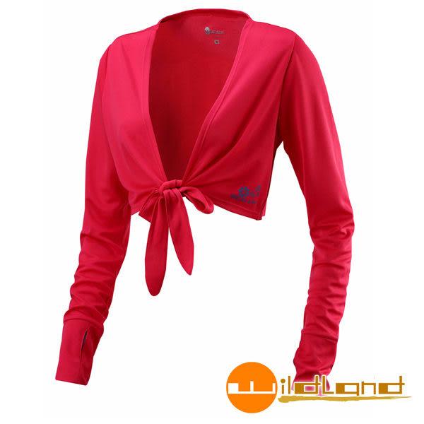 Wildland荒野 W1805-20玫瑰紅 女 抗UV排汗綁帶袖套衣/吸濕排汗/快乾/防曬外套/單車休閒防曬衣