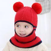 針織一體帽男女童加絨護耳兒童毛線帽—聖誕交換禮物