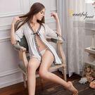 睡衣 性感睡衣【中大尺碼睡衣】緞帶奶白柔緞罩衫二件式情趣性感睡衣 星光密碼B010
