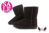ISAO雪靴韓版 內層全鋪毛 套入式 真皮女靴 零碼出清 季末回饋 K8063#咖啡◆OSOME奧森鞋業