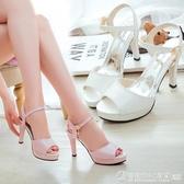 魚嘴涼鞋 網紅女鞋子2020春季新款韓版百搭魚嘴涼鞋一字扣細跟防水台高跟鞋 圖拉斯3C百貨