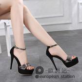 恨天高/13cm厘米公分以上細跟高跟鞋夏季性感夜店模特女單涼鞋