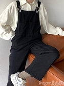 背帶褲 直筒牛仔背帶褲女韓版秋冬炸街黑色吊帶顯瘦寬鬆秋闊腿小個子冬季 suger