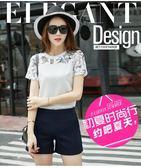 套裝女夏季新品韓版印花蕾絲拼接雪紡衫短褲兩件套     東川崎町