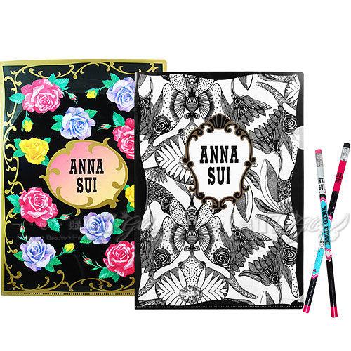 【17go】ANNA SUI 安娜蘇 經典薔薇文件夾+魔法星願文件夾+DOLLY GIRL 鉛筆組