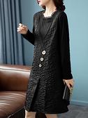 洋裝 大碼連身裙秋季韓版時尚假兩件拼接羅紋圓領長袖連身裙女NB11快時尚