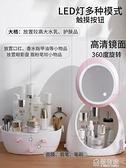 化妝盒 網紅化妝品收納盒帶鏡子抖音同款防塵梳妝臺桌面護膚品置物架