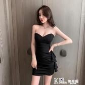 抹胸洋裝 女裝夏季2020年新款性感荷葉邊緊身氣質包臀洋裝抹胸黑色短裙子